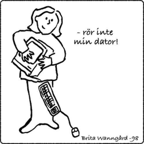 Teckning av kvinna som håller en gammal mac