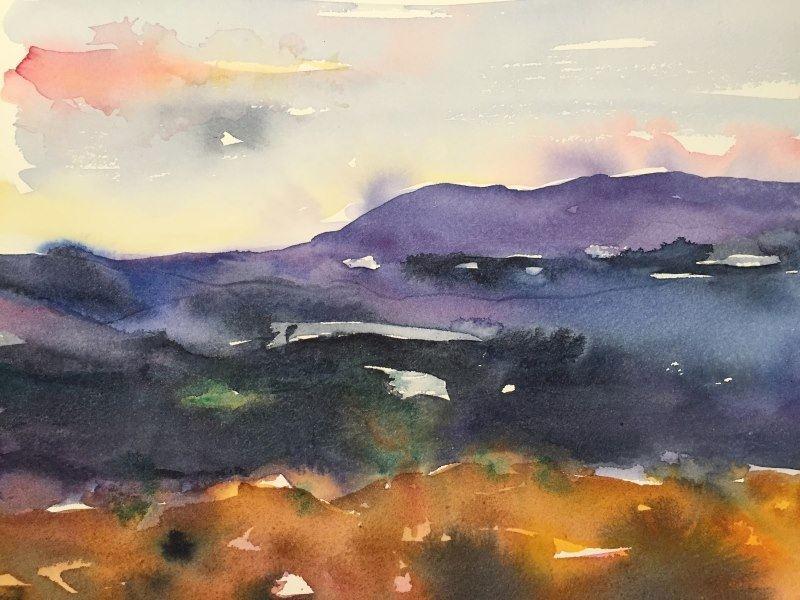 Bild på akvarelmålning på fjäll.