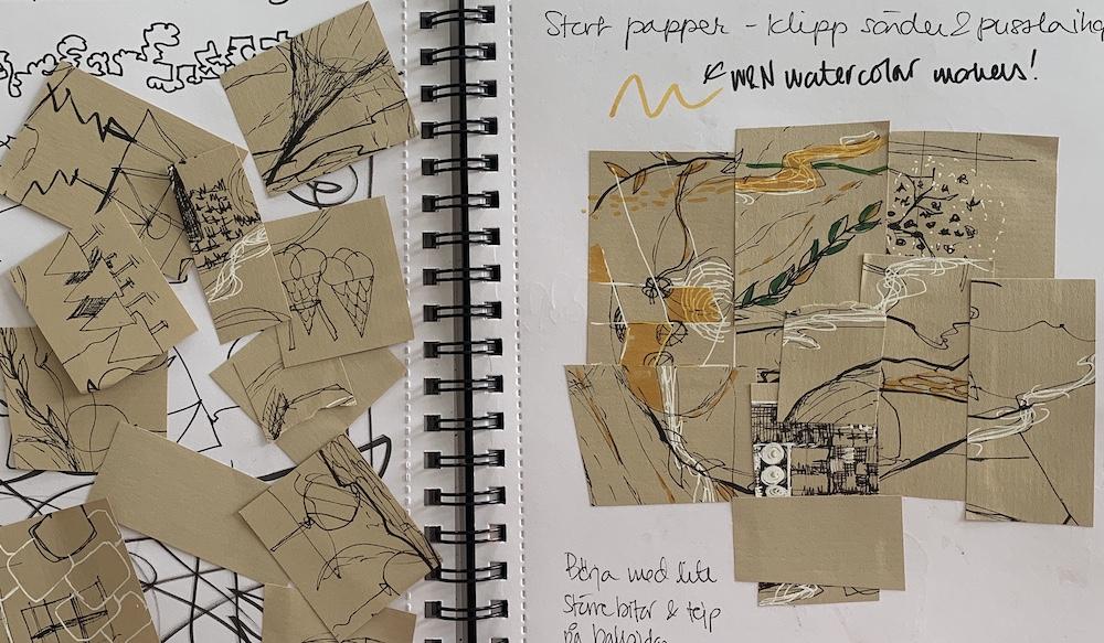Foto på skissbok med papper.
